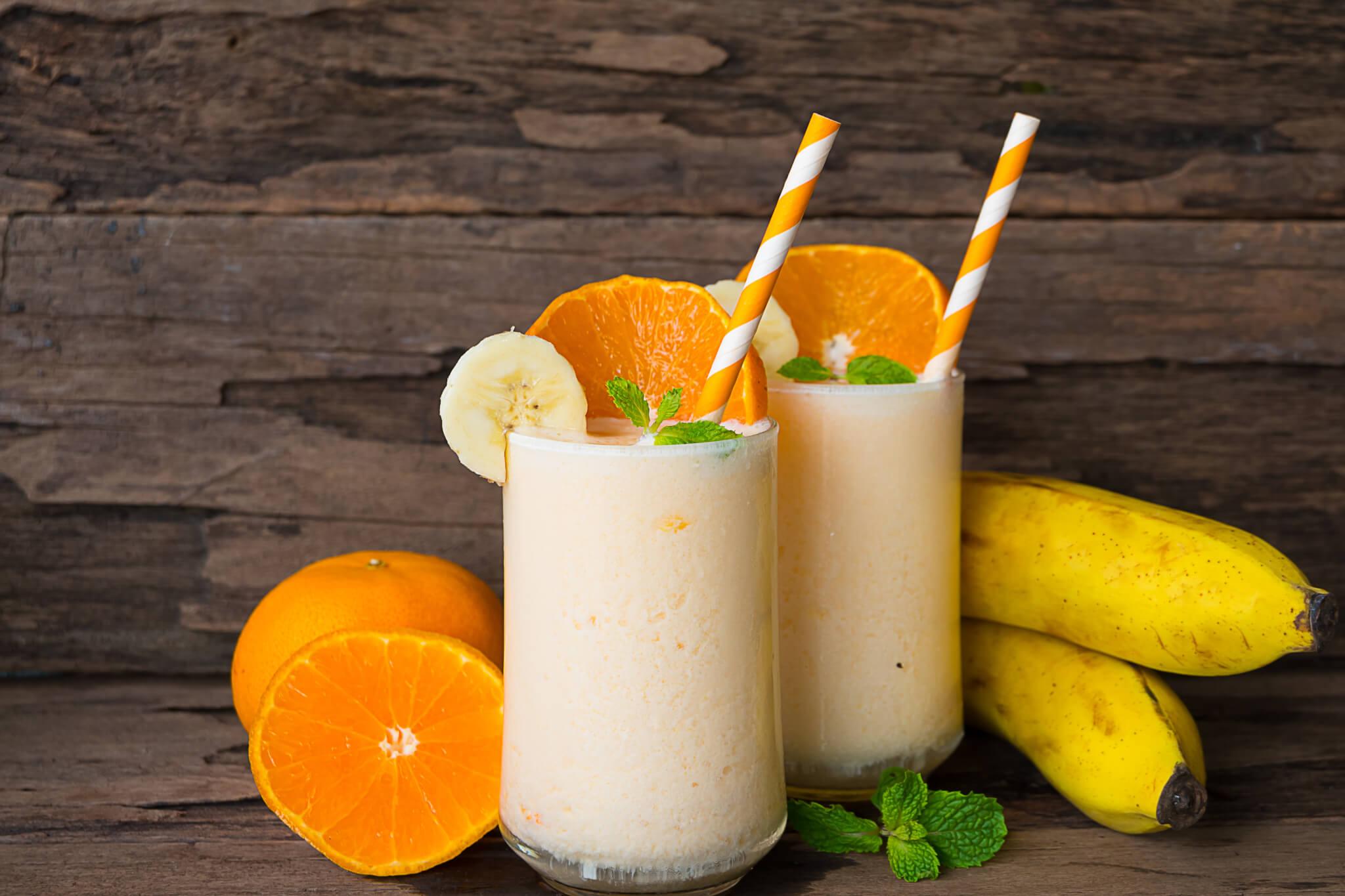 Banana and orange smoothies